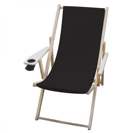 scaun de plaja pliabil din lemn cu suport bautura lazyboy negru